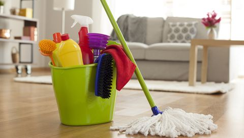 bucket of cleaning equipment | family-routines